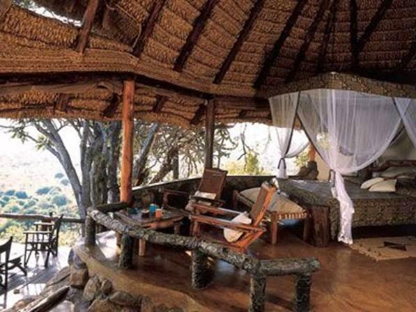 Description:  Elsa's Kopje - the first stop of my week-long safari, is a cluster of open-faced casitas built into the jagged folds of Meru's Mughwango Hill