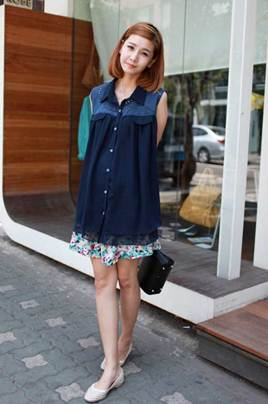 Description: Romantic, elegant but no less dynamic with fashionable dark-color skirts and flower-shorts dark