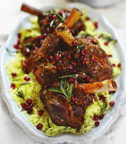 Description: Nigella Lawson's Overnight Lamb Shanks with Figs and Honey