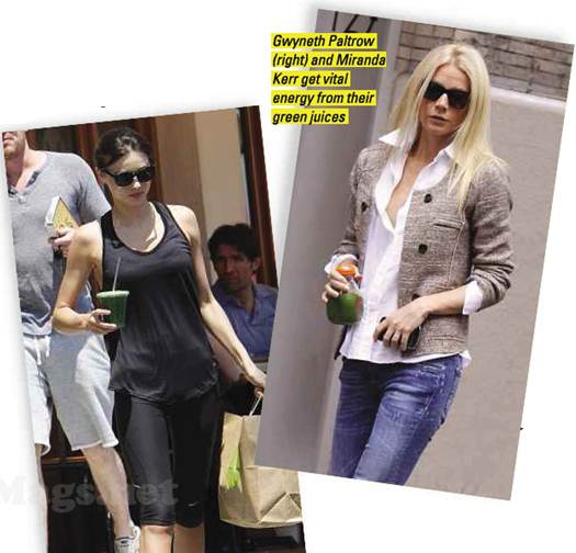 Description: Gwyneth Paltrow (right) and Miranda Kerr get vital energy from their green juices