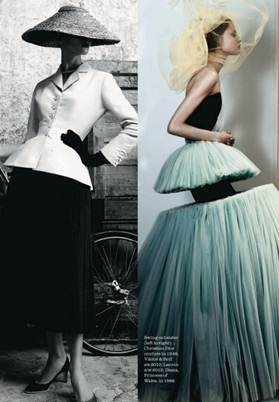 Description: Swing out sister (left to right): Christian Dior couture in 1948; Viktor & Rolf s/s 2010; Lanvin a/w 2012; Diana, Princess of Wales, in 1986