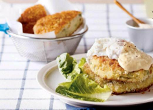 Description: Fish Cakes with Poached Eggs and Aioli