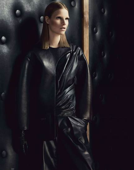 Description: Hussein Chalayan softens the urban black biker with unexpected textures and twists