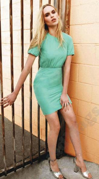 Description: Polyester dress, $487.5, leather sandals, $867