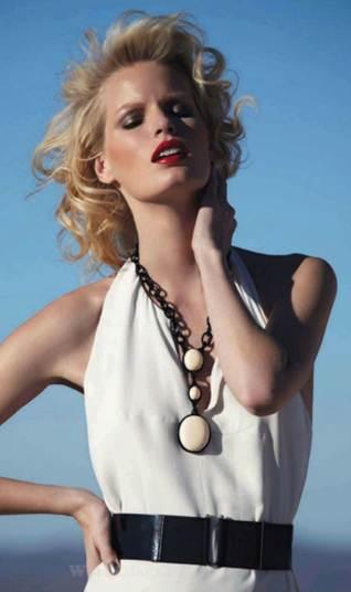 Description: Viscose-mix dress $643.5, patent leather belt, $105, plastic necklace, $180