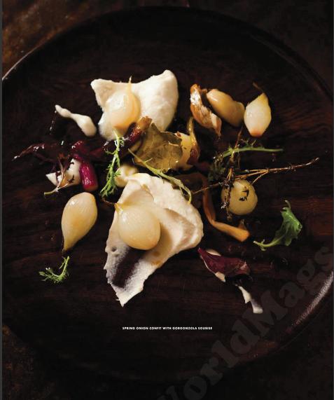 Description: Description: Spring onion confit with gorgonzola soubise