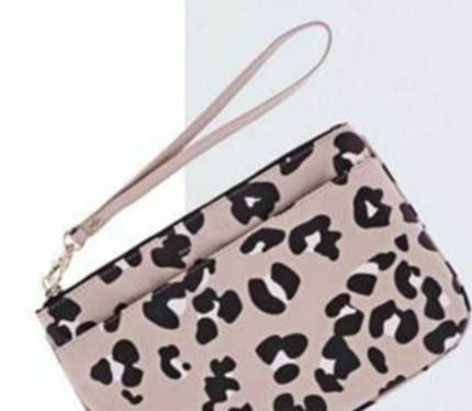 Description: Leopard-print clutch, $45.