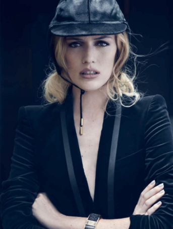 Description: Velvet jacket, Roberto Cavalli; 'Baker St' hat, SuperDuper handmade hats; 'Intervalle' cuff, Swarovski