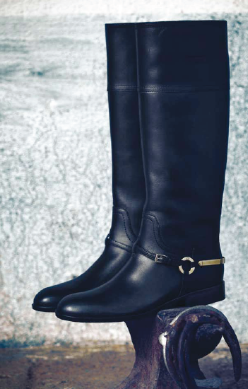 Description: Knee-high leather boots with metal detail, Dior