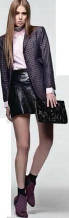 Description: Cotton shirt, Lurex top, Leather skirt, Leather boots, Patent-leather bag, Cotton socks