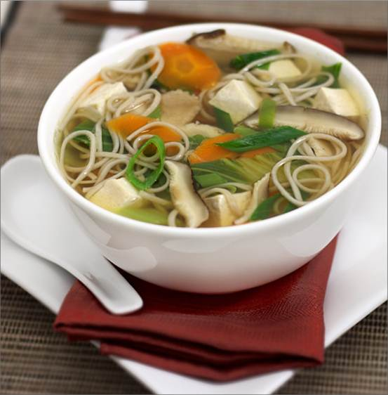 Description: Mushroom and silken tofu noodle soup