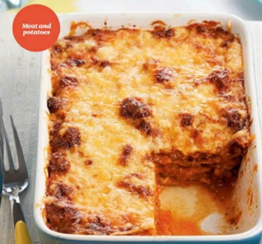 "Description: Sweet Potato ""Lasagna"" Bolognese"