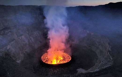 Description: the crater summit of the active stratovolcano Nyiragongo