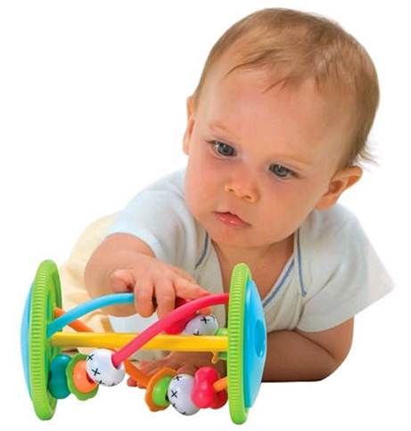 Description: Baby with swap and go snail