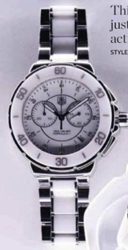 """Description: """"Formula 1"""" steel, ceramic and diamond watch, $2062.5"""