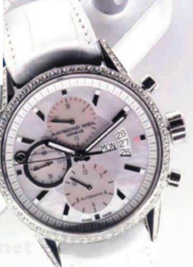 "Description: ""Freelancer' mother of pearl, stainless steel, diamond and crocodile-skin watch, $8392.5"