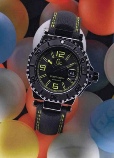Description: 'GC-3 Aqua Sport' stainless steel, PVD, gomme techno and leather watch, $712.5