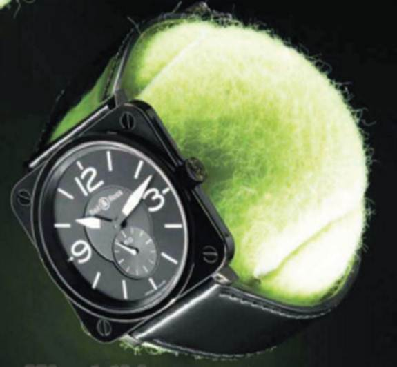 Description: 'BRS' ceramic and patent leather watch, $2775