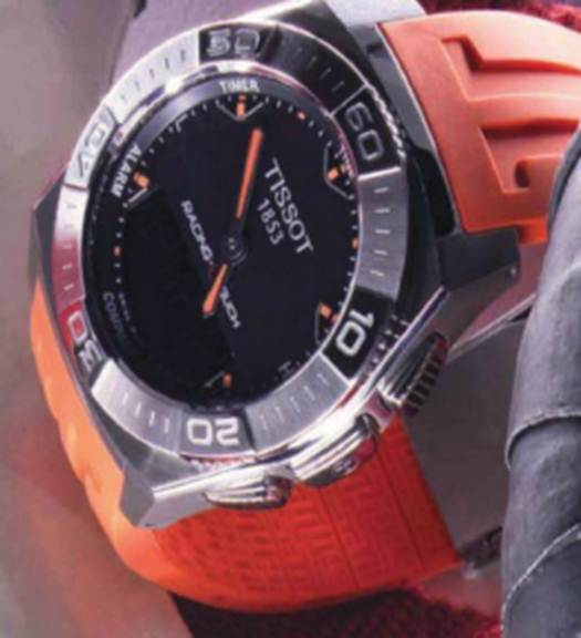 "Description: 'Racing Touch"" stainless steel and silicone watch, $592.5"