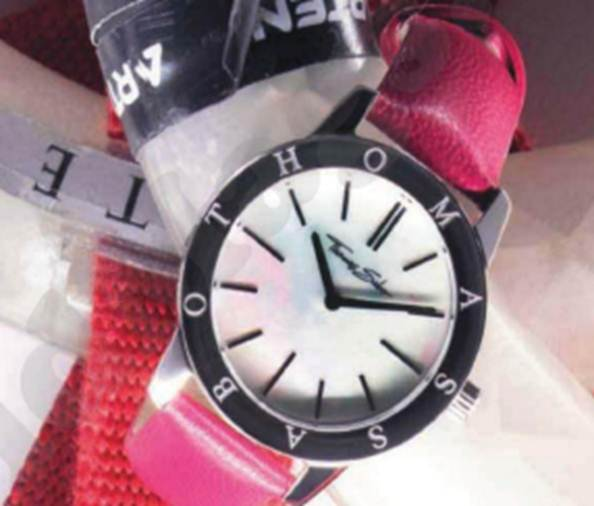 Description: Classic Lady' stainless steel mother of pearl, sapphire and leather watch, $253