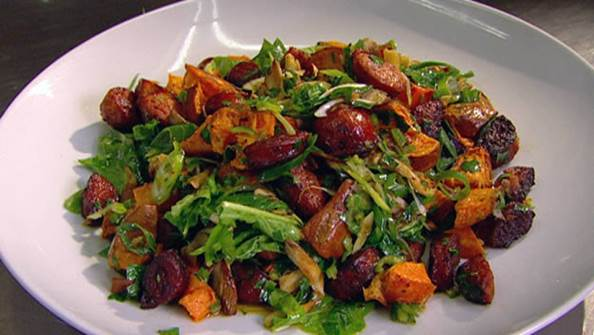 Roast sweet potato salad with chorizo, red onion and goat's cheese
