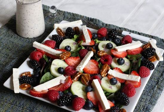 Glazed vegetables with feta cheese