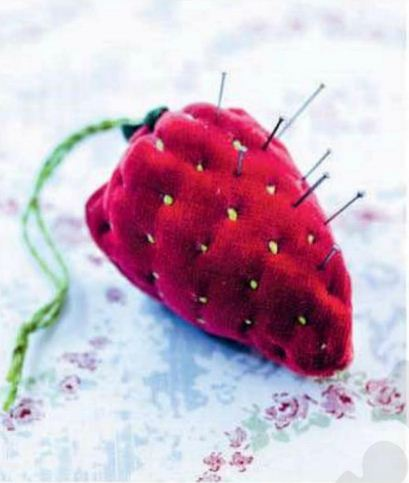 Description: Almost too good to stick pins in, this fabric fruit is practical as well as pretty