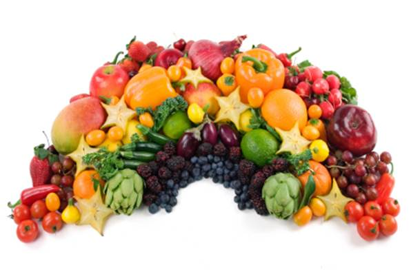 Description: A variety of colours helps to keep us healthy, so eat red, yellow and green fruit and veg – and purple too!