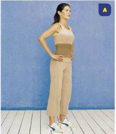 Description: Stand with your feet hip-width apart, legs straight but not locked at the knees, hands on your hips. Pull your abdominals in, lift your chest and relax your shoulders