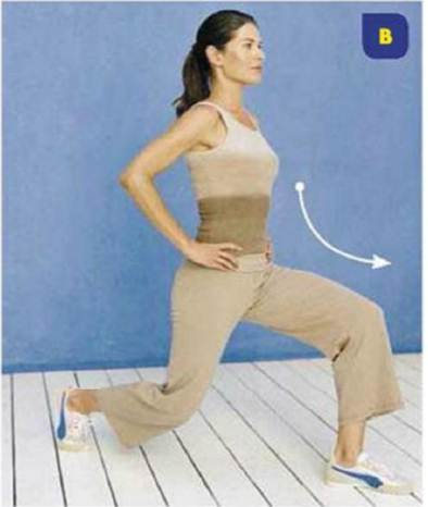Description:  Lunge forward with your left foot, bending both knees so that your left knee aligns points towards the ground, hell lifted