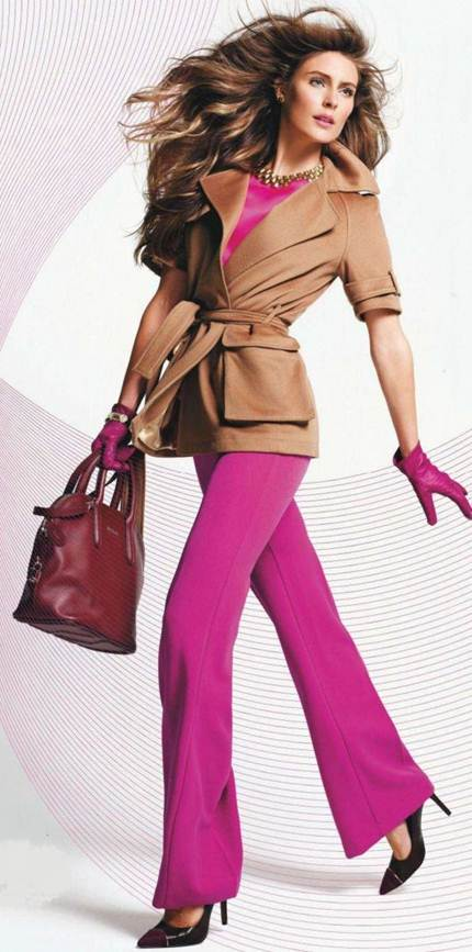 Description: Chic cuts, luxe fabrics, and high-shine extras elevate magenta to the executive suite.