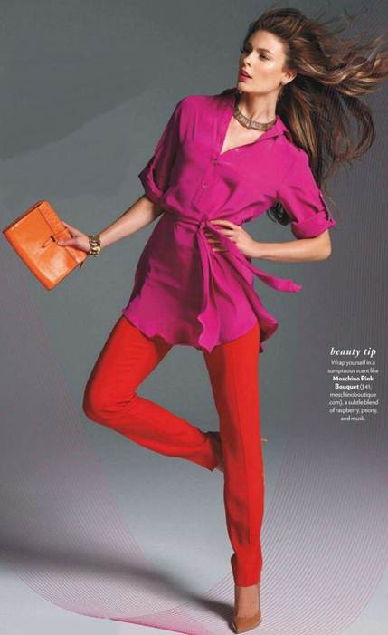 Description: Dare to pair pink with a similarly brilliant hue for a look that's pure genius.