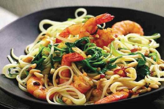 Description: Linguine with prawns and rocket