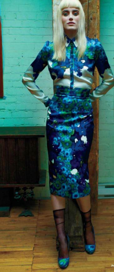 Description: Print silk shirt and matching slim skirt and silk, leather and resin pumps; Sheer nylon socks