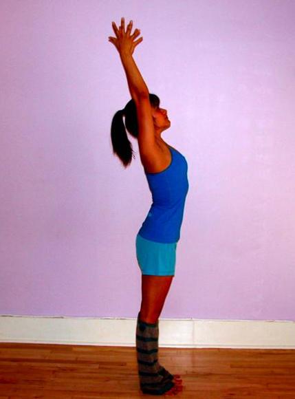 Description: Raised arms pose