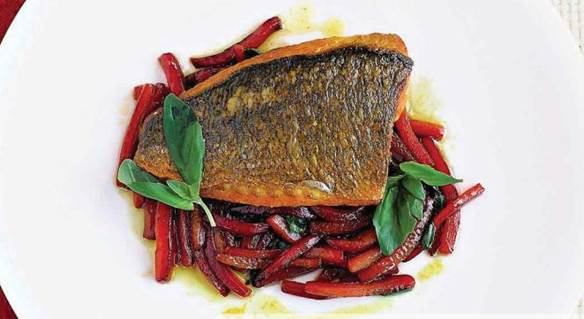 Saffron-marinated bream with sweet and sour peppers