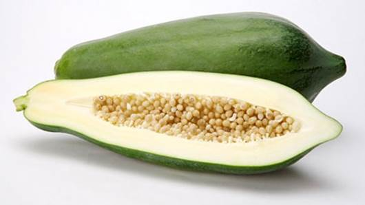 In green papayas, there's lots of protein, fats, vitamin A, B, C, D, E…