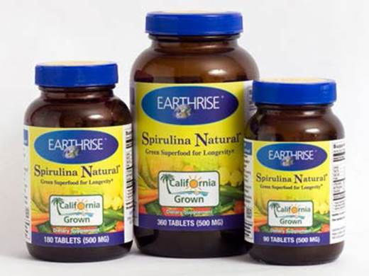 The spirulina sun alga is produced by Earthrise LLC, American.