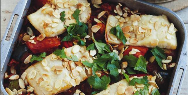 Almond-Topped Crunchy Baked Fish