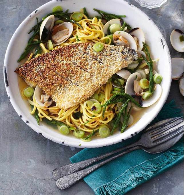 Description: Sesame-crusted fish with samphire & clams
