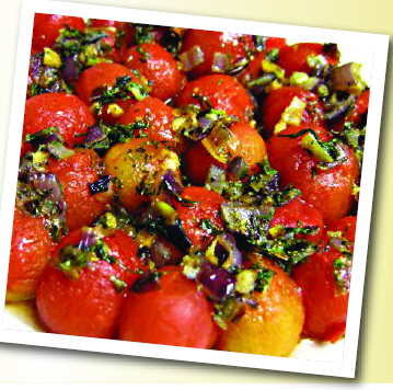 Description: Cherry-red tomato with herbs