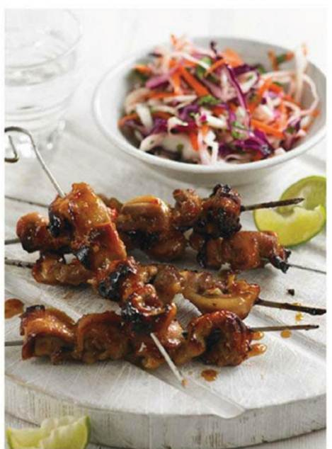 Description: Chicken skewers with pickled slaw