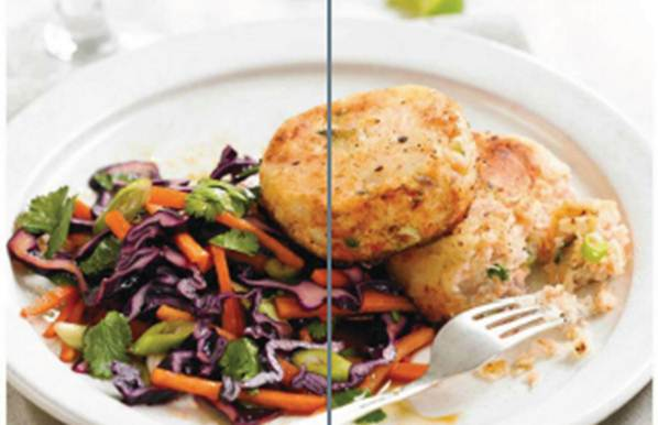 Description: Salmon and ginger fishcakes with salad