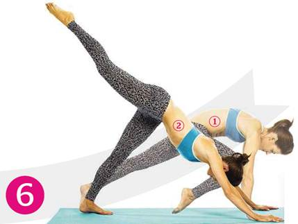 Description: Lower your left hand and move into downward dog with your right foot raised
