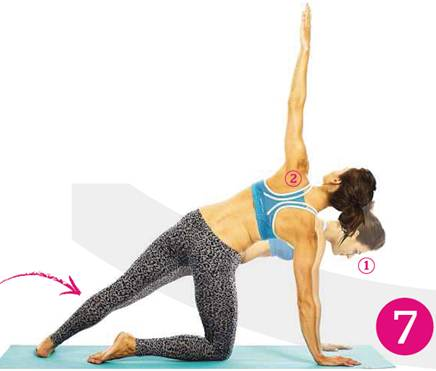 Description: Exhale and place your right knee on the mat below your right hip