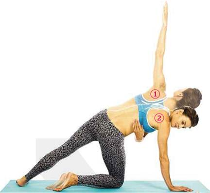Description: Exhale and curve your left arm underneath your rib cage