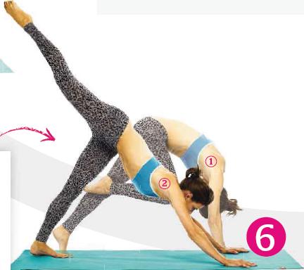 Description: As you exhale, straighten your left leg