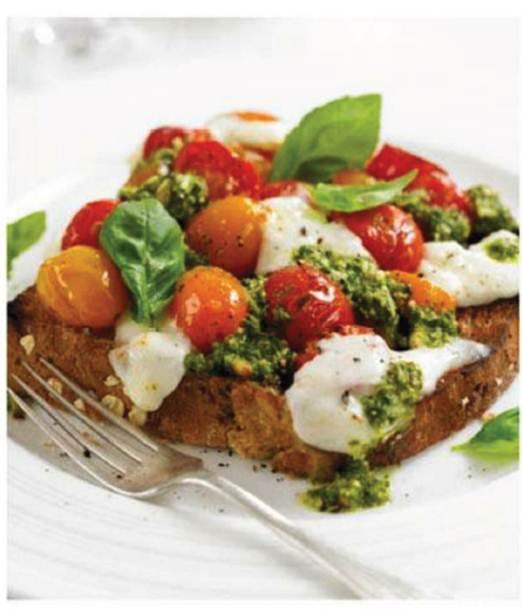 Description: Tomato, mozzarella and basil sandwich