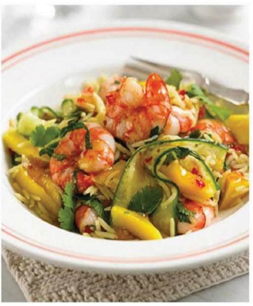 Mozzarella and tomato risotto with basil, Prawn and mango rice salad