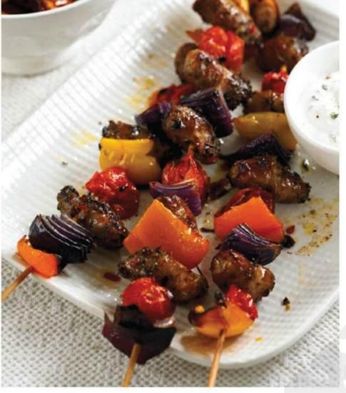 Description: Sausage and pepper kebabs